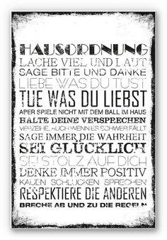 Hartschaum Wandbild, Home affaire,« Hausordnung«, 30/45 cm