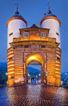 The Towers on the Old Foot Bridge over the the Neckar River in Heidelberg,…