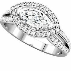 14kt White Gold Marquise Halo-Styled Engagement Ring. Find it at a jeweler near you: http://stuller.com/locateajeweler/