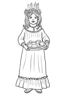 Saint Lucy Day coloring page from Norway category. Select from 28148 printable crafts of cartoons, nature, animals, Bible and many more. Santa Lucia, St Lucia Day, Free Printable Coloring Pages, Free Coloring Pages, Coloring Books, Sweden Christmas, Norwegian Rosemaling, Holiday Images, Catholic Kids