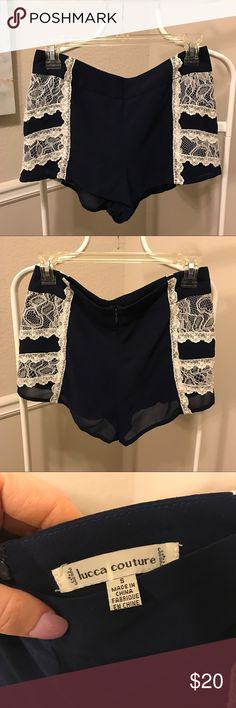 Navy Blue and white lace high waisted shorts Worn once. Comfortable material, lined. No stretch. Lucca Couture Shorts