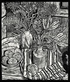 Tonal detail Andrew Crooks ~ Still Life with a Banksia and Moonlight Grevilleas ~ Linocut, Arches Aquarelle off-white 185 gsm paper, 34 x 40 cm Woodcut Art, Linocut Prints, Still Life Drawing, Ecole Art, Linoprint, Monochrom, Art Graphique, Wood Engraving, Australian Artists