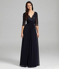 JS Collections Lace and Chiffon Gown #Dillards    In a different color.  Not Navy.  Yuck.