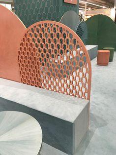 Bethan Gray designs an oasis of calm for Frankfurt's Ambiente 2017 - News - Frameweb Sofa Design, Furniture Design, Cafe Interior, Interior Design, Shelf Furniture, Screen Design, Elegant Homes, Retail Design, Restaurant Design