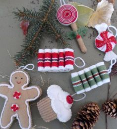 Handmade Felt Christmas Tree Ornaments by EagerHandsGiftShop, $20.00 Love the old-fashioned candy ornaments!