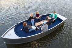 ALUMINUM ELECTRIC BOAT-Developed by Amsterdam based design company SpringTime, the Stroom is an electric aluminum boat, tailor-made for sailing along canals and inner waters Speed Boats, Power Boats, Electric Boat, Yacht Party, Cabin Cruiser, Boat Projects, Aluminum Boat, Boat Design, Enjoy The Silence
