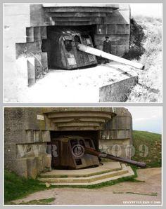 Then and now... Batterie de Longues-sur-Mer (© Normandy WW2 Then & Now)