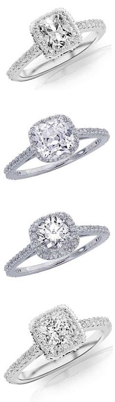 Four versions of the popular Cushion Style Halo Engagement Ring. From top: 1.07 CTW Cushion Cut, 0.93 CTW Cushion Cut, 1.01 CTW Round Cut and 0.94 CTW Princess Cut. | bridesandrings.com