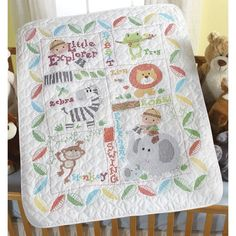 The Little Explorer Baby Quilt Kit is a Stamped Cross Stitch crib cover kit from Bucilla.  Kit includes a pre-quilted, pre-finished poly/cotton quilt, cotton floss, floss separator, needle, chart and instructions.  The cross stitch design is pre-printed on the quilt in wash-away ink.  Baby quilt measures 34 in x 43 in.  The Little Explorer crib cover is a fun safari  jungle themed stamped cross stitch pattern for baby.