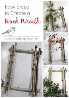 icu ~ Pin on That DIY Party Highlights ~ After my recent fling with birch branches and evergreens I though you would appreciate a quick tutorial on How to Create a Birch Wreath. All Things Christmas, Christmas Holidays, Christmas Wreaths, Christmas Ornaments, Christmas Projects, Holiday Crafts, Holiday Decor, Birch Branches, Birch Bark