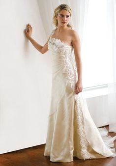 Mermaid Asymmetric Floor Length Attached Silk Charmeuse/ SIlk Organza Wedding Dress Style Y166