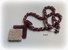 Beaded Beige/Eggplant Pendant Necklace, Seed Bead Necklace, Statement Beadwork Necklace, Original Jewelry, Beaded pendant, Unique gift, OOAK