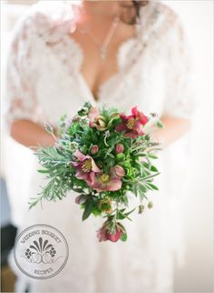 herbal scented Natural Wedding Bouquet--could use hosta leaves. Very pretty