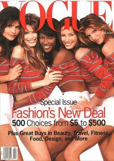 American Vogue Cover - April 1990 Naomi Campbell Christy Turlington Helena Christensen