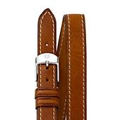 MICHELE Saddle Calfskin Leather Double Wrap Watch Strap, 16mm