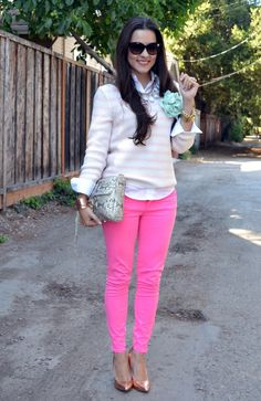 lovin' them pink pants. not so much the prepster look, but kinda cute if it was more edgy.