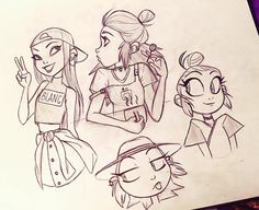 Happy Easter everyone!  have some sketches ☺️ #angiensca #characterdesign #girls #fashion