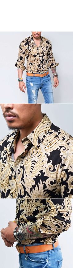 Tops :: Shirts :: Lux Edge Woolen Cotton Paisley-Shirt 140 - Mens Fashion Clothing For An Attractive Guy Look