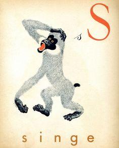 1930s French alphabet print (S) singe - monkey