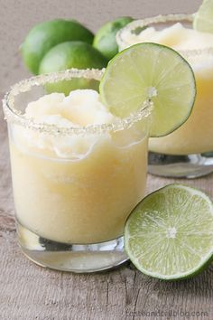 Virgin Frozen Margaritas from www.tasteandtellblog.com with limeade, oj, grapefruit juice