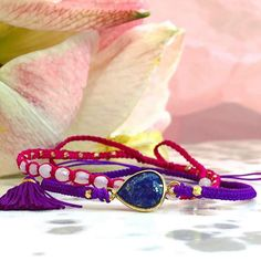 Corded Friendship Bracelets with Gold and Semi Precious Stones
