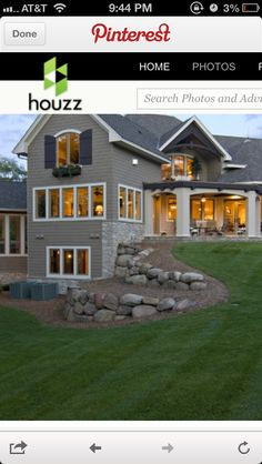 Landscape with large round-ish boulders - we like this landscaping. Nice porch, posts are a bit heavy. Landscaping With Boulders, Landscaping On A Hill, Farmhouse Landscaping, Driveway Landscaping, Landscaping Software, Modern Landscaping, Backyard Landscaping, Landscaping Ideas, Landscaping Contractors