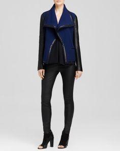 Vince Jacket - Leather Sleeve Bouclé   Bloomingdales's