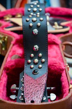 BadAxe Straps Custom Leather Guitar Straps Legacy Frog Maroon