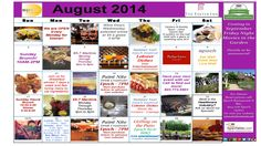 August 2014 Calendar of Events and Promotions