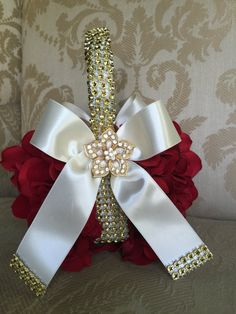 red and gold  flower girl basket with by TheCrystalFlower on Etsy