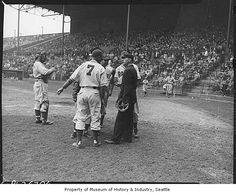 Seattle Rainiers players arguing with umpire, Seattle, 1946 by IMLS DCC, via Flickr