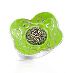 marcasites beautifully crafted in green enamel and 925 silver
