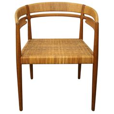 Teak & Cane Round Chair by Nanna Ditzel | 1stdibs.com