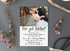 """This wedding reception invitation is a fun way to announcement your recent marriage or elopement to your friends and family + invite them over for a big celebration!  I will personally customize this invitation for you. ** Please message me via Etsy or email me at chelsi.etsy [!at] gmail.com with your invitation details after purchasing ** --- PURCHASING OPTIONS ---  You have the option of choosing a digital file or ordering prints. Please view pricing from the drop down menu under Pricing""""…"""