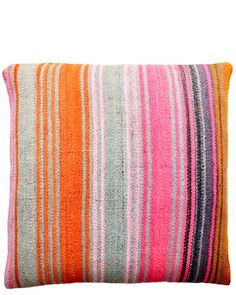 "Bolivian Frazada Pillow in Pink & Burnt Orange $185   22"" x 22""  feather and down"