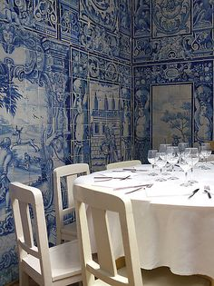 The Corner Table. Lisbon, Portugal. #tile #wall