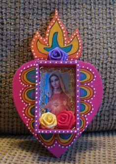 Sacred Heart Mexican Folk ArT Retablo by ArTMadeByHarT on Etsy, $30.00