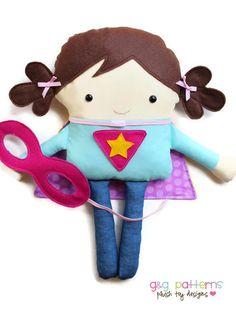 Superhero Pattern Supergirl and Superboy Plush Toy Pattern, PDF Sewing Pattern