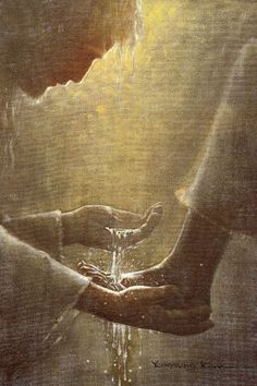 painting of jesus christ washing feet of one of his diciples Lds Art, Bible Art, Catholic Art, Religious Art, Image Jesus, Religion, Pictures Of Jesus Christ, Jesus Painting, Prophetic Art