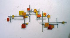 Modern colorful Metal Wall Art Sculpture Mid Century wall art contemporary