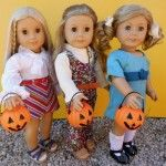American girl dolls as the Brady Sisters; Marcia, Jan and Cindy.