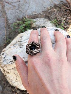 #3dbeadedring, #handmadering, #ring #handmadejewels, #jewels, #beadedring, #swarovskiring, #hexagonring, #evapolart, #handmade Beaded Rings, Beaded Jewelry, Handmade Jewelry, Swarovski Ring, Rings For Men, Silver Rings, Jewels, Art, Art Background
