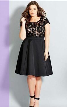 Curvy Woman Black Dress With Lace Top and Black Ankle Strap High Heels