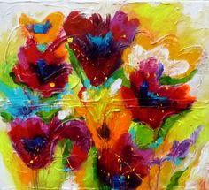 Adry's schilderij nr. 2119 met als titel Allemaal 'n tulpje van mij in het formaat 90 x 100 cm.