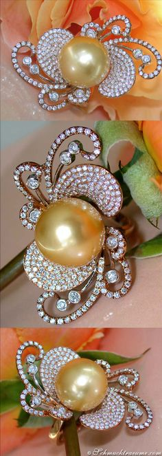 Glamorous Diamond Ring (2 ct. G-SI) with 13-14 mm Golden Southsea Pearl, RG&WG18K - Visit: schmucktraeume.com Like: https://www.facebook.com/pages/Noble-Juwelen/150871984924926 - Mail: info@schmucktraeume.com