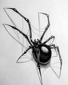 Spider Web Drawing, Spider Web Tattoo, Spider Art, Tattoo Design Drawings, Tattoo Sketches, Art Sketches, Art Drawings, Dark Art Tattoo, Et Tattoo