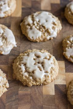 Maple Glazed Iced Oatmeal Cookies - thick, soft, and chewy. You'll love them too!