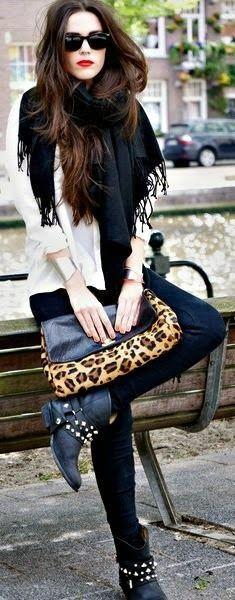 leopard + biker booties