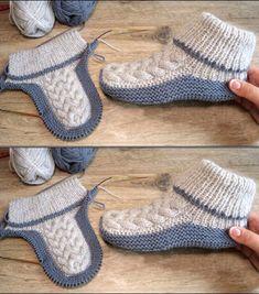 Diy Crochet Slippers, Knit Slippers Free Pattern, Baby Booties Knitting Pattern, Crochet Shoes, Baby Knitting Patterns, Knitting Socks, Free Knitting, Knit Crochet, Crochet Stitches