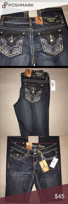 Antique Rivet Jeans with Pocket Embellishment Great jeans!  BNWT awesome shine to the pocket stitching and leather is slightly stamped with the logo! Antique Rivet Jeans Straight Leg